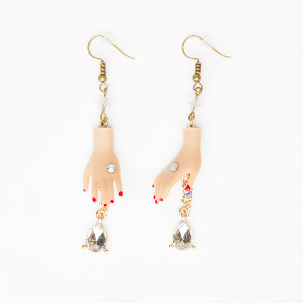 Dolls hand earrings with pearly crystal gemstones