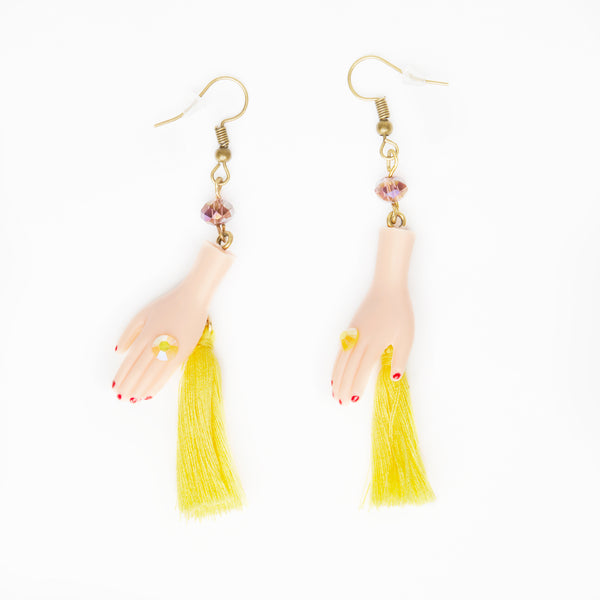 yellow tassels dolls hands earrings