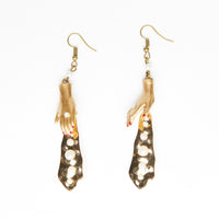 golden dolls hands earrings with pearly beads on golden plated flake