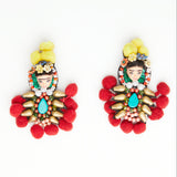 frida kahlo miniature doll barbie face earrings