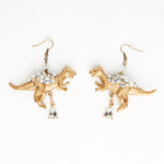 gold T-rex red dinosaur earrings with crystal drop beads with swaroski crystal beads
