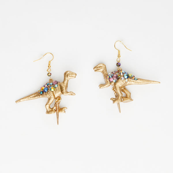 gold T-rex gold dinosaur earrings with golden spike with gemstones