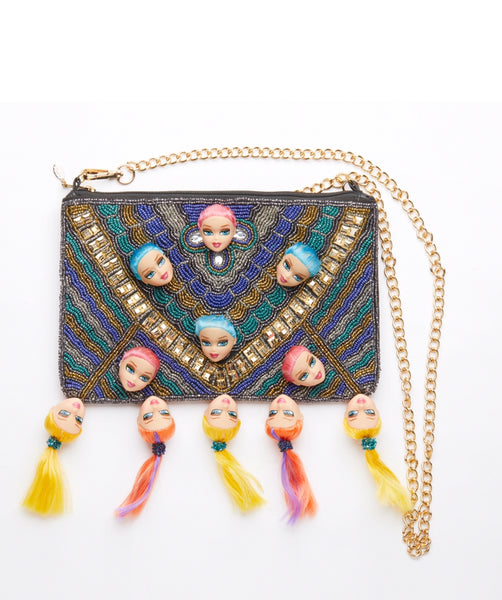 bespoke ethnic style blue & pink  hair dolls heads bag  clutch