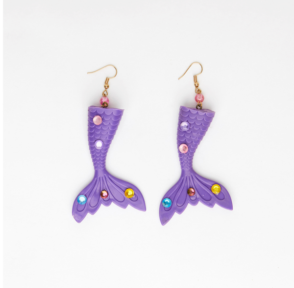 purple mermaid earrings toy tail with gemstones