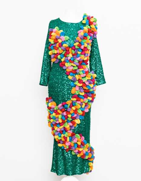 big colourful hair bands green sequin dress
