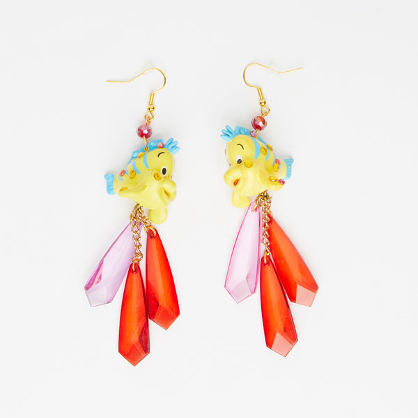 Flounder fish toy earrings with crystal