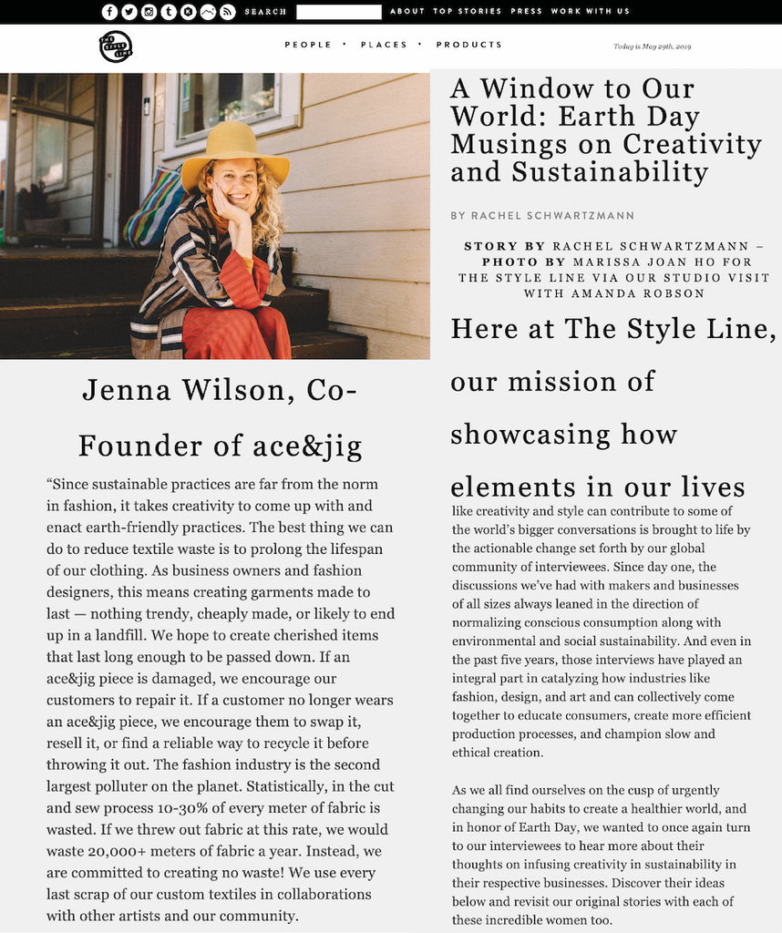 ace&jig featured in the style line April 2019