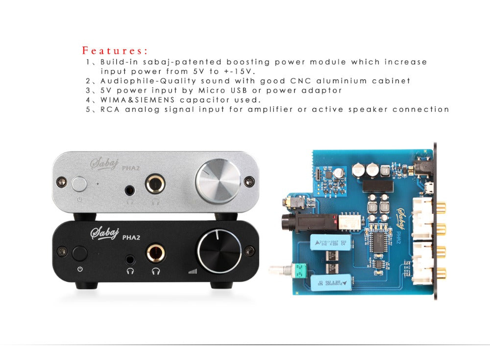 Sabaj Audio RCA Headphone Amp PHA2 Portable Home Mini Amplifier  HiFi-express