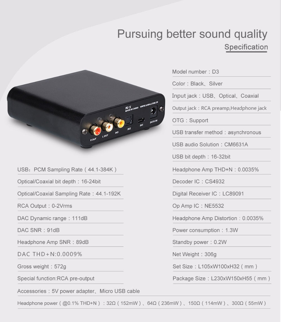 Sabaj D3 Audio DAC and Headphone Amplifier with 3.5mm Jack  HiFi-express