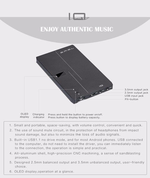 SMSL IQ USB HI-RES Portable headphone Amp 2.5mm and 3.5mm output - hifiexpress