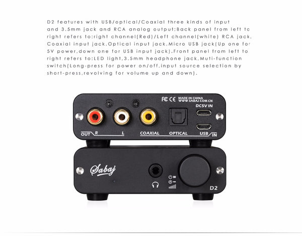 Sabaj D2 Portable Audio DAC Headphone Amp with 3.5mm Jack - hifiexpress