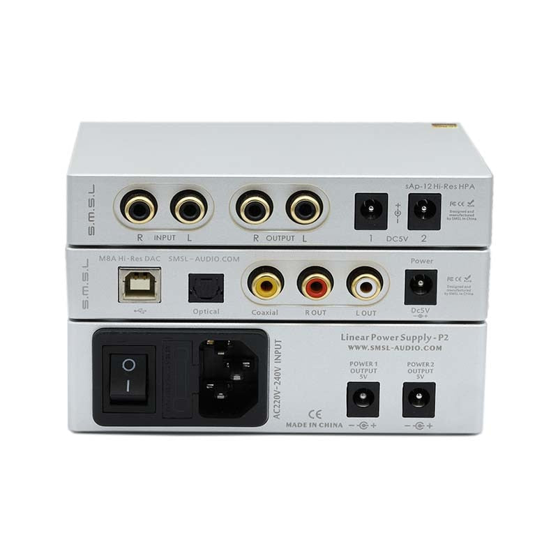 SMSL SAP-12+M8A+P2 Combination Hifi Headphone Amp Decoder Power Amplifiers  and Linear Power Supply