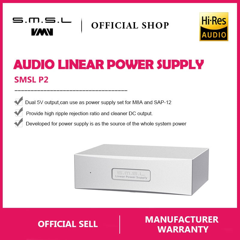 SMSL P2 Linear Power Supply Dual 5V Output Set for SMSL M8A and SAP-12 Amp  HiFi-express