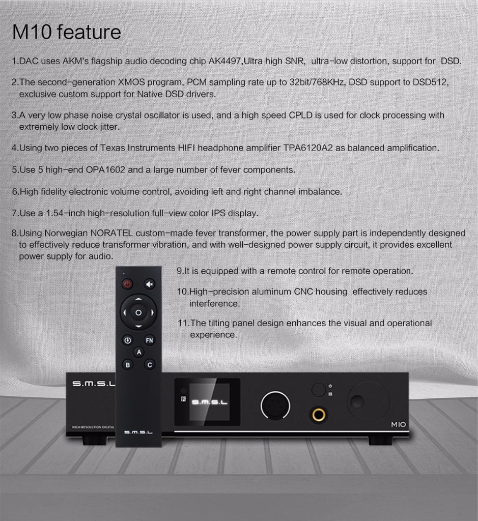 SMSL M10 AK4497 Chip Full balanced headphone Amp& DAC