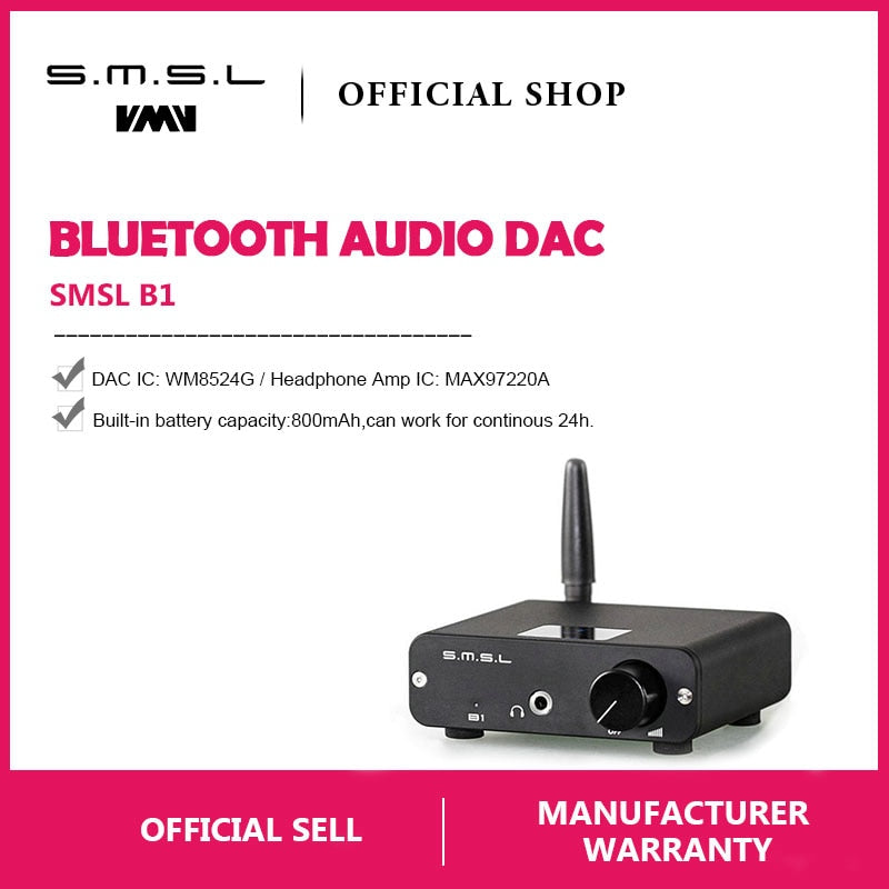 SMSL B1 HiFi Stereo Audio Bluetooth DAC Receiver NFC Optical Coaxial DAC  HiFi-express