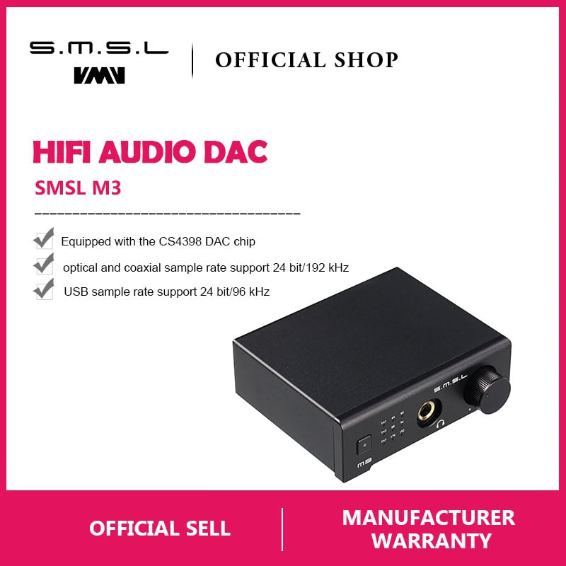 SMSL M3 Multi-function DAC All-in-one Headphone Decoder Amplifier
