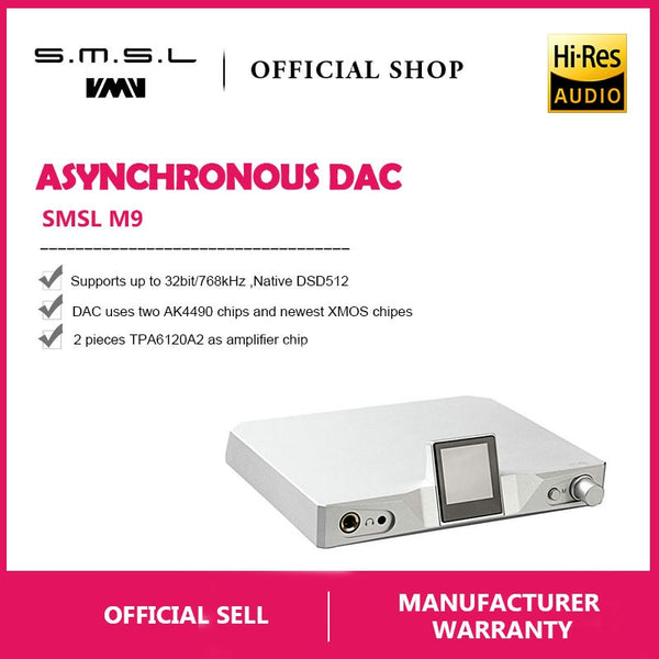 SMSL M9 AK4490x2 Hi-Fi Audio DAC Digital  Balanced Headphone Amp - hifiexpress