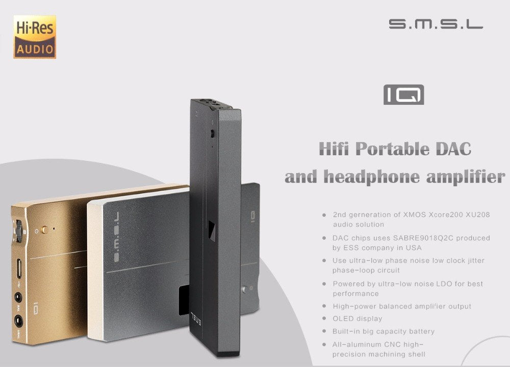 SMSL IQ HI-RES Portable headphone Amplifier USB DAC  HiFi-express
