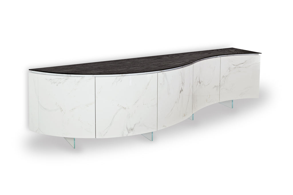 black and white luxury curved cabinet for living room