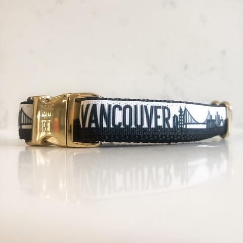 Bone and Bred VANCOUVER Black + Gold Buckle Collar