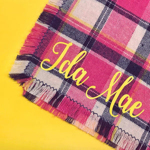 The Triangle Scarf - Hot Pink Plaid