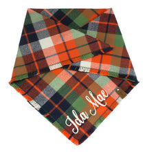 Load image into Gallery viewer, The Triangle Scarf - Orange & Blue Plaid