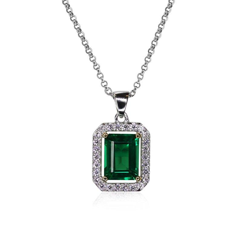 Sterling Silver pendant necklace - Emerald borderset