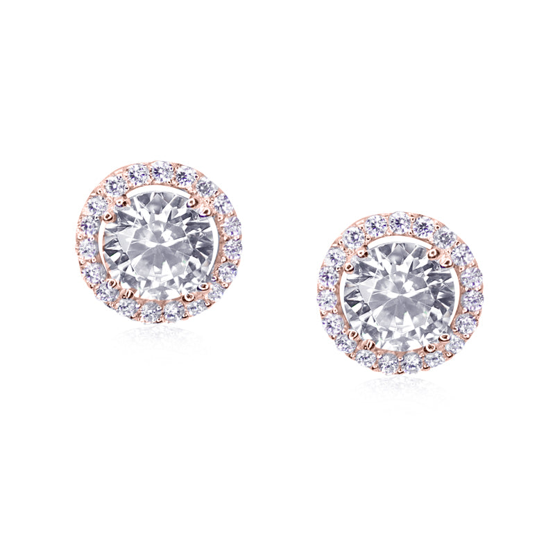 Sterling Silver Stud Earrings - Rose Gold Finish