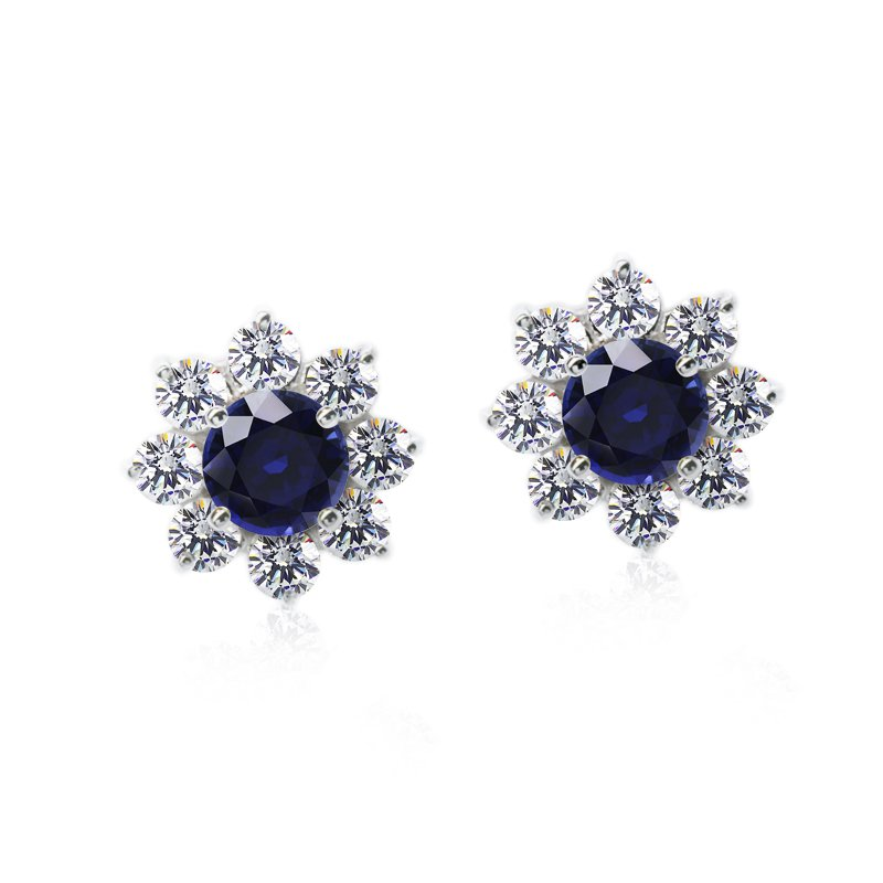 9K White Gold Studs Earrings - Sapphire Flower Clusters