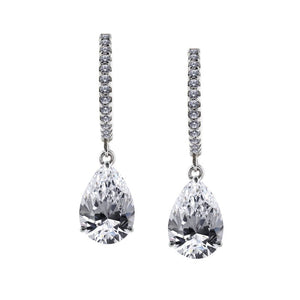 9K White Gold Drop Earrings - Pear cut