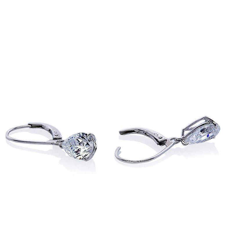 White Gold Earrings - 9K White Gold Pear Cut Euroback Drop Earrings