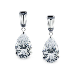 9K White Gold Drop Earrings - Pear and baguette cut design