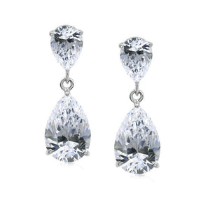 Classy Pear Drops in White Gold