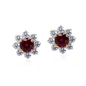9K White Gold Stud Earrings | Ruby Flower Clusters