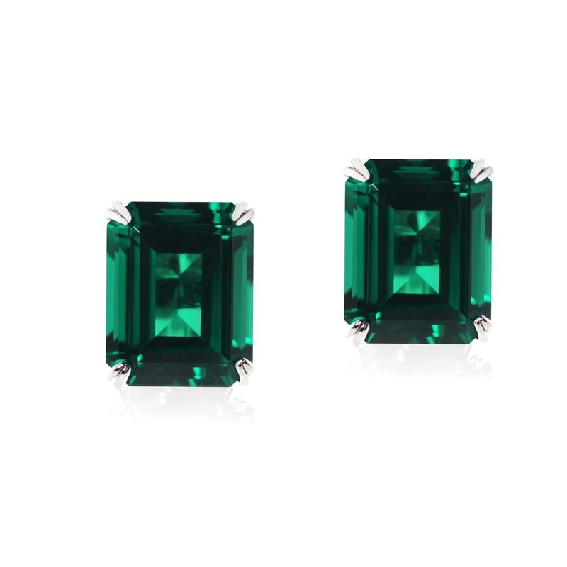 9K White Gold Stud Earrings - Emerald green