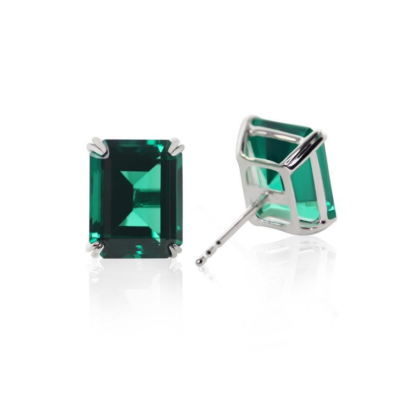 Fulton Emerald Green Double Prong Studs