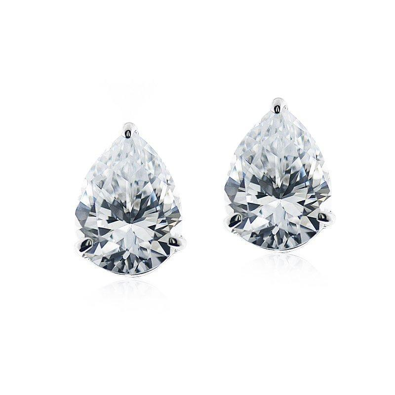 9K White Gold Pear Stud Earrings