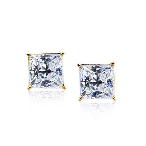 Elegant Princess Studs Earrings Yellow Gold