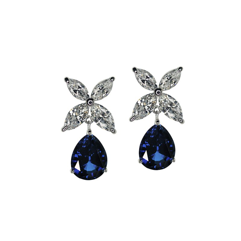 Sterling Silver Drop Earrings - Sapphire pear cut