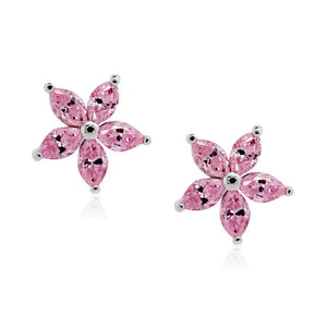 Flower Studs in Fancy Pink