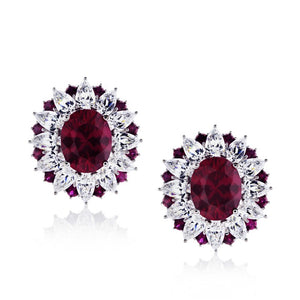 Scarlet Oval Cluster Earrings