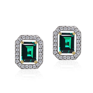 Sterling Silver Border Set Studs Earrings - Emerald Green