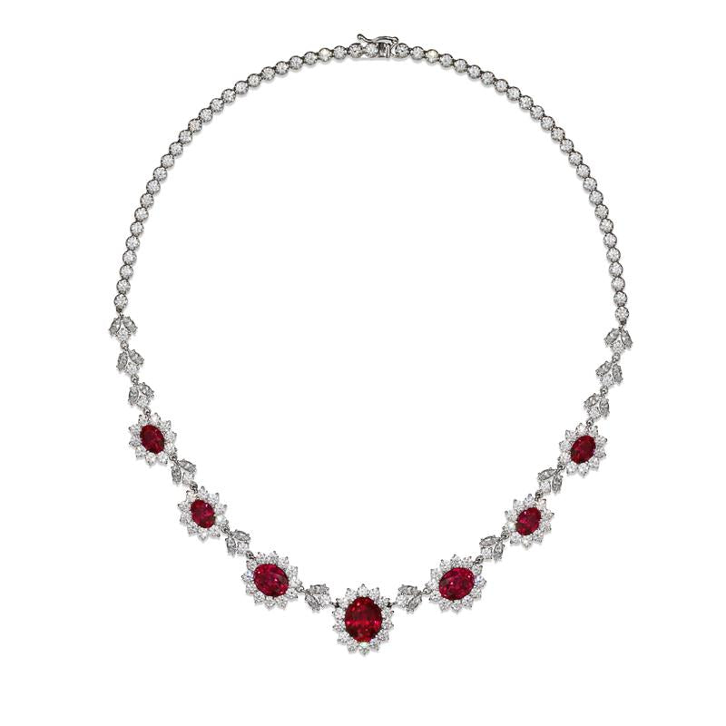 Rosemond Ruby Oval Flower Necklace