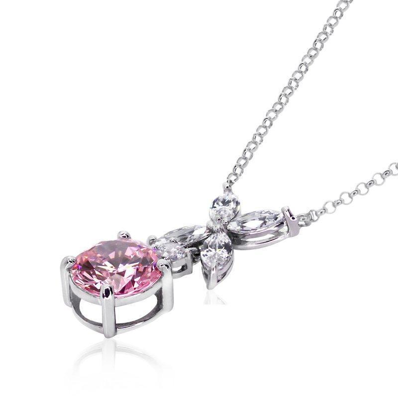 Jasmine Chicory Fancy Pink Round Pendant Necklace