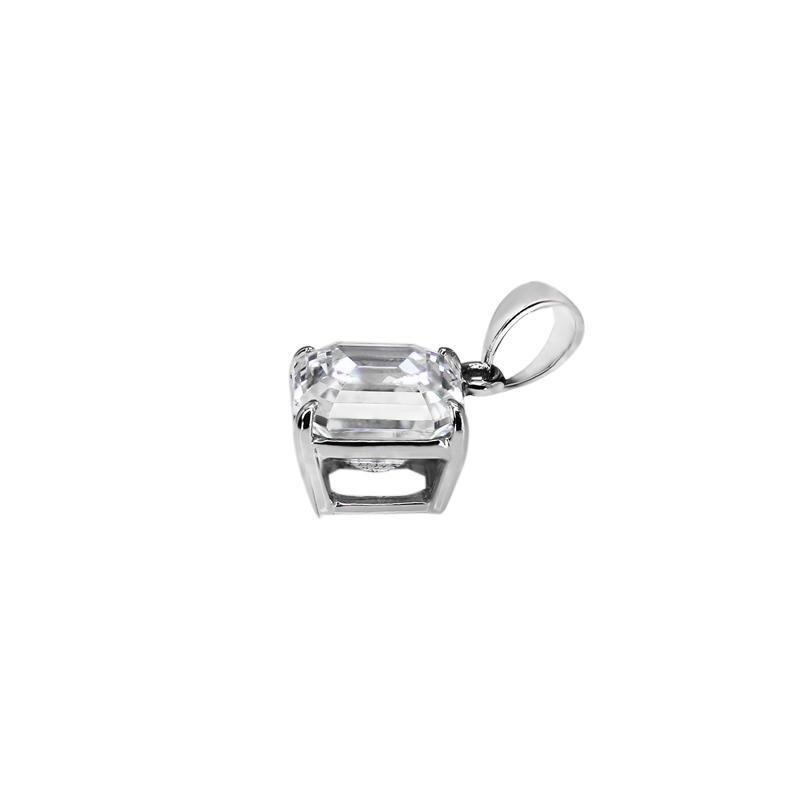 9K White Gold Pendant - Asscher Cut