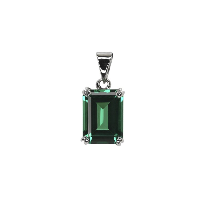 9K White Gold Emerald Pendant