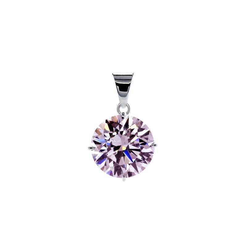 Hazel Pink Four Prong Round Pendant White Gold