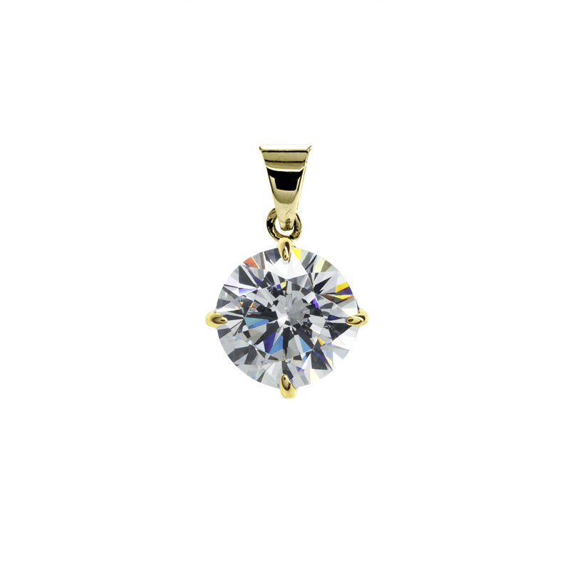 Hazel Four Prong Round Pendant Yellow Gold
