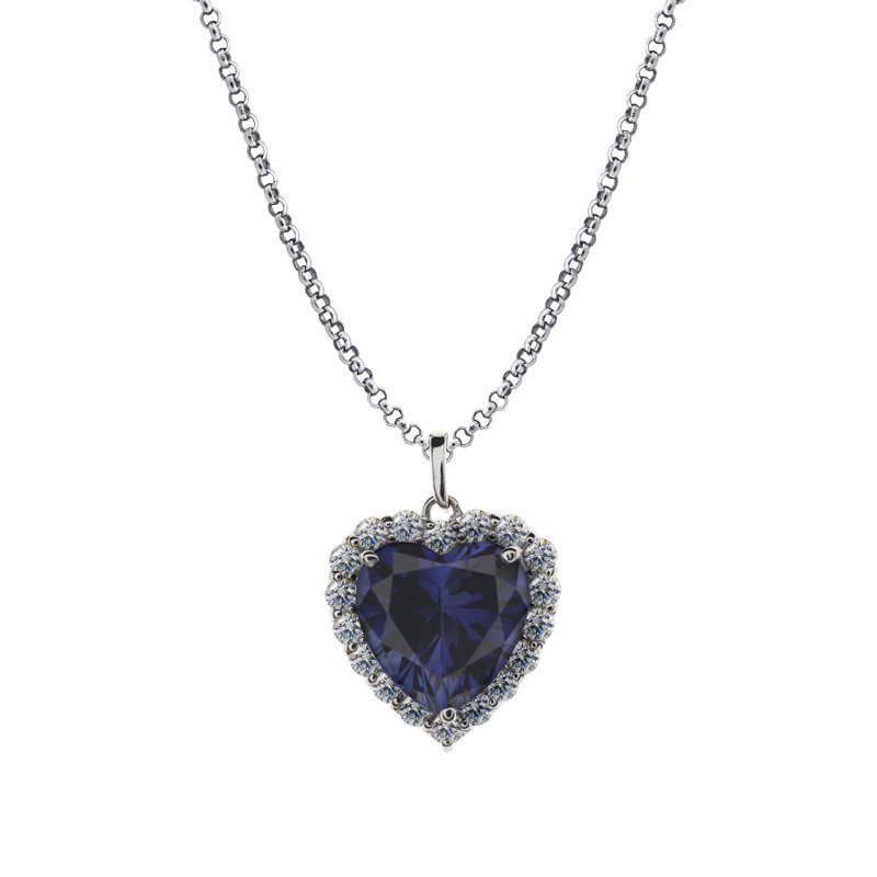Sterling Silver Heart Necklace - Sapphire Heart Drop