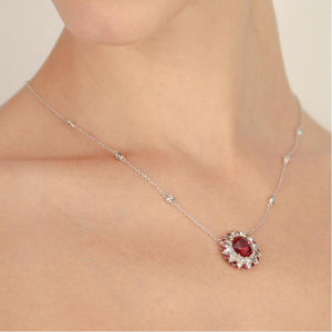 Emma Ruby Oval Cluster Pendant Necklace